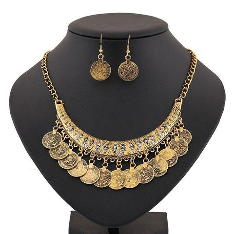 Gypsy Coin Statement Jewelry Set