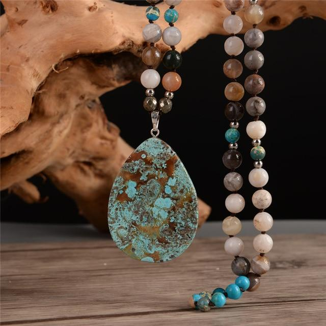 Ocean Stone Teardrop Necklace
