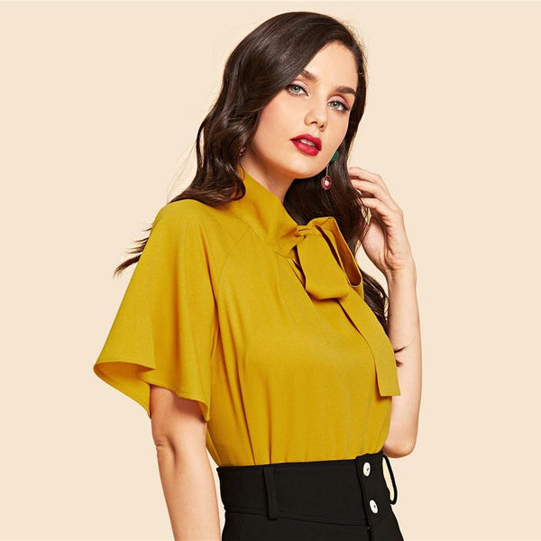 Ginger Vintage Flutter Sleeve Tie Neck Blouse