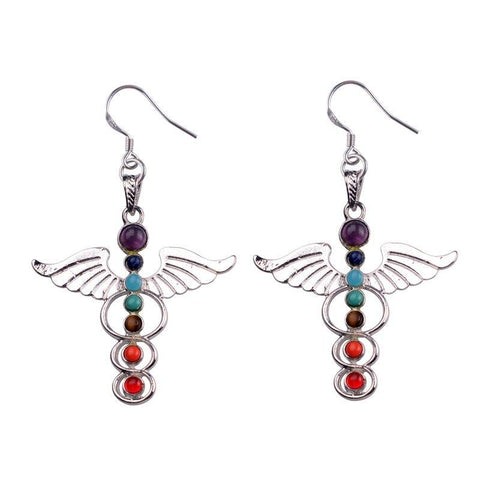 Caduceus Chakra Drop Earrings