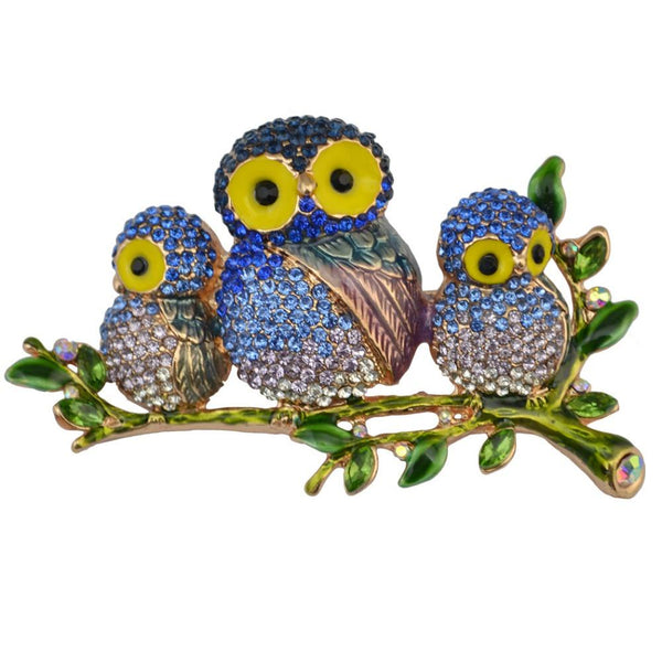 Family of Owls Brooch