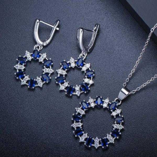 Crystal Hoop Drop Jewelry Set