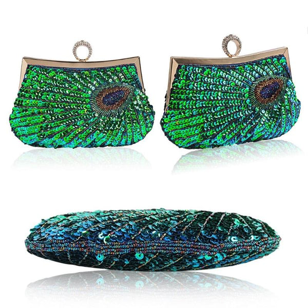 Shimmering Peacock Evening Clutch Bag