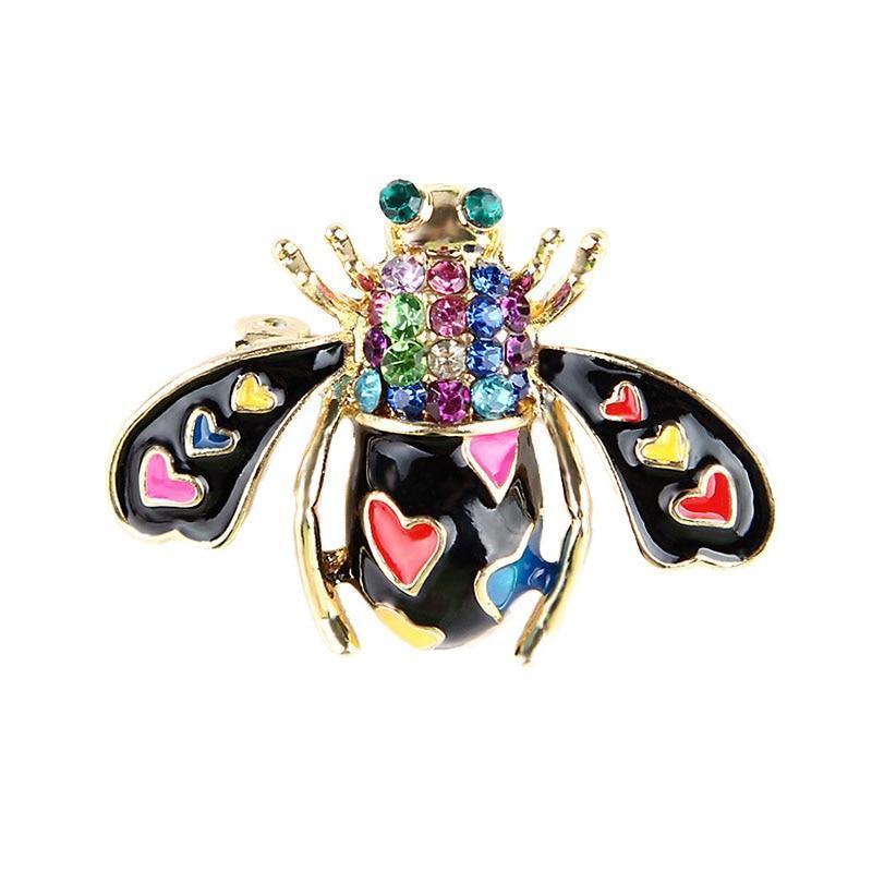 Love Heart Bee Brooches