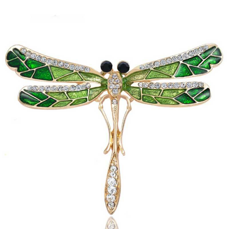 Emerald Green Dragonfly Brooch
