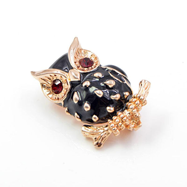 Red Gem Eye Owl Brooch