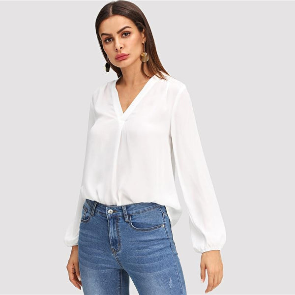 White V Neck Modern Blouse