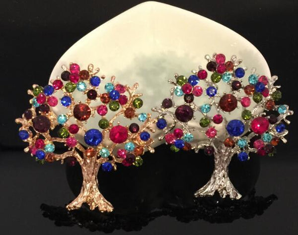 Tree of Life Rainbow Brooches
