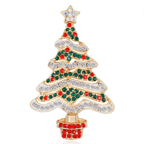 Crystal Tinsel Christmas Tree Brooch