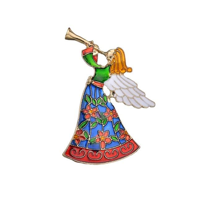 Vintage Colorful Angel Brooch