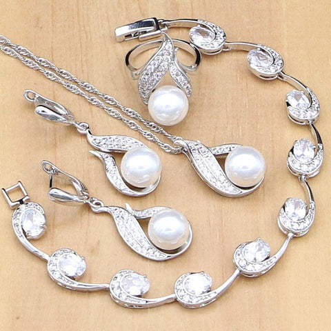 Sterling Silver Natural White Pearl Bridal Jewelry Sets