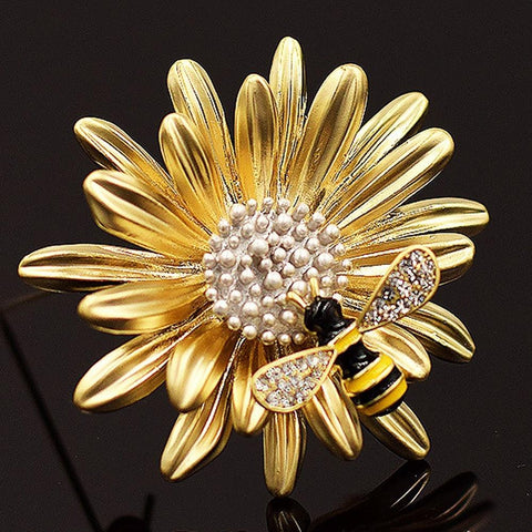 Sunflower Bee Brooch
