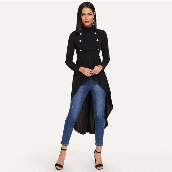 Black Mock Neck Double Breasted Ruffle Blouse