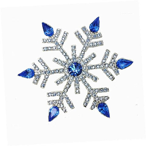 Crystal Tipped Christmas Snowflake Brooches