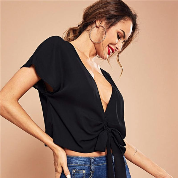 Deep V-Neck Evening Blouse