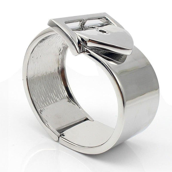 Silver Polished Buckle Cuff Bracelet