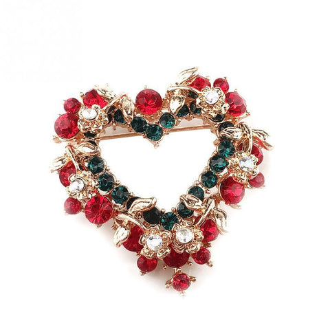 Heart Crystal Christmas Wreath Brooch