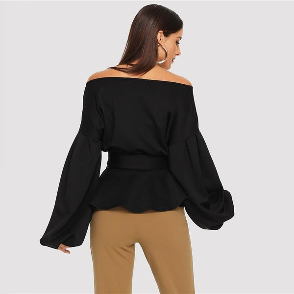 Off The Shoulder Peplum Blouse