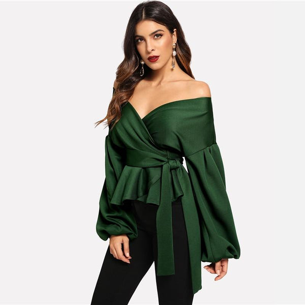 Off The Shoulder Lantern Sleeve Peplum Blouse