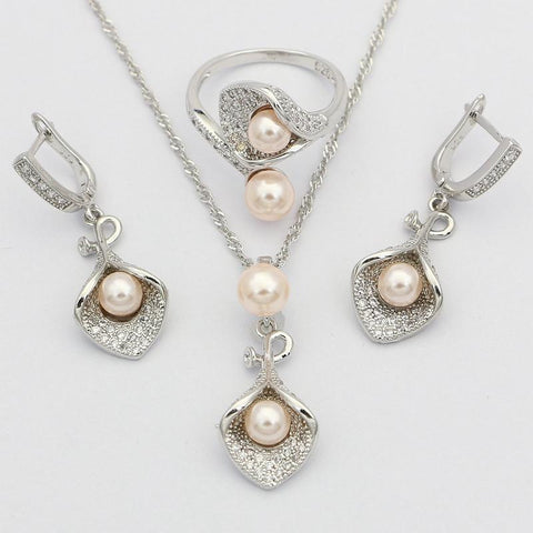 Morning Glory With Pink Pearl Silver Bridal Jewelry Sets