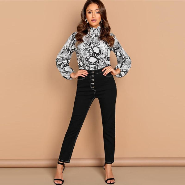 Mock-Neck Snake Skin Button Blouse