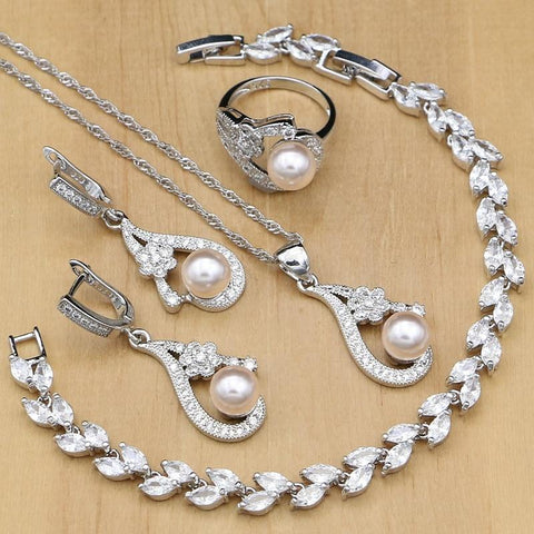 Pink Pearl Silver Jewelry Sets