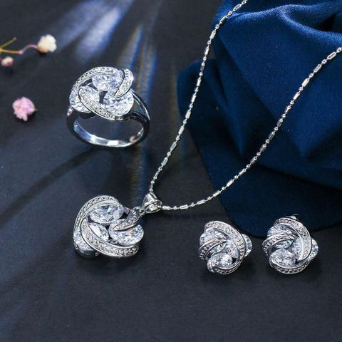 Crystal Knot Sterling Silver Jewelry Sets