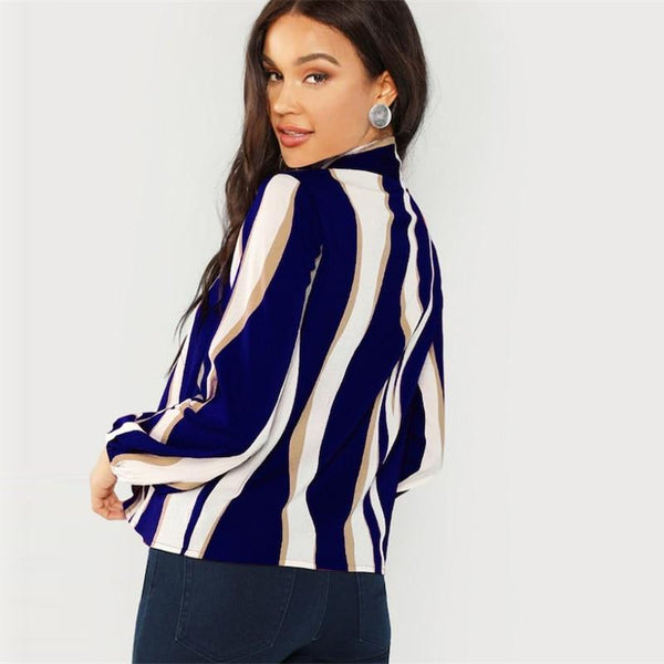 Tie Neck Long Sleeve Striped Blouse