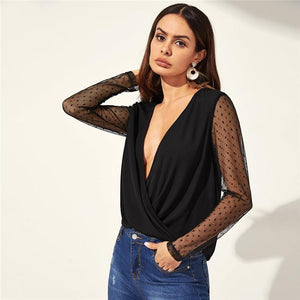 Sexy Black Dot Mesh Blouse