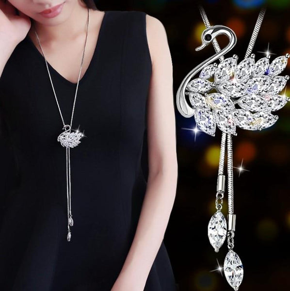 Crystal Drop Swan Necklace