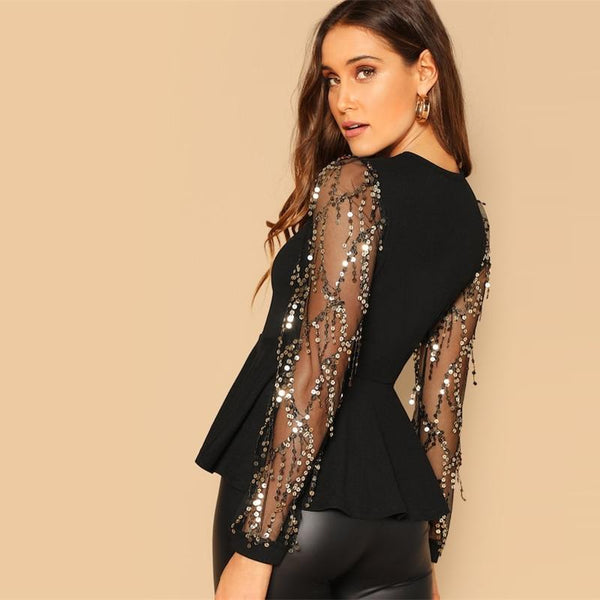 Exquisite Sequin Mesh Peplum Blouse