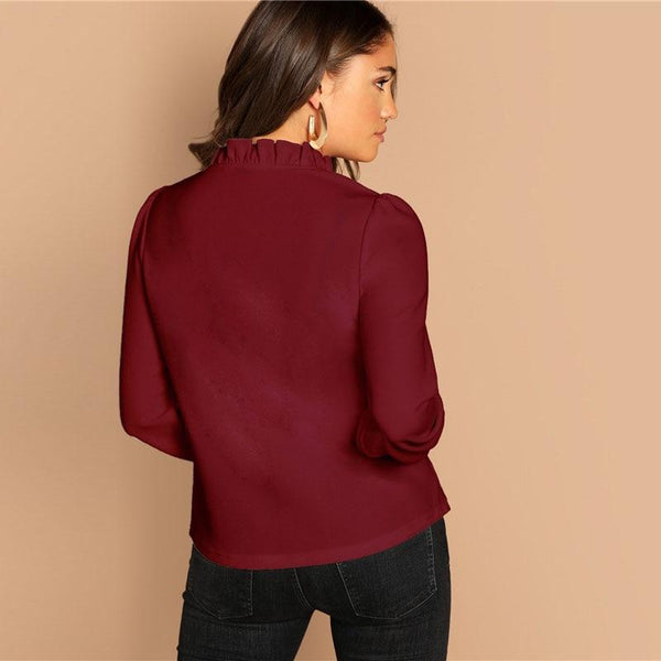 Burgundy Frilled Neck Spring Blouse