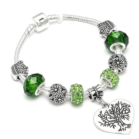 Tree of Life Green Earth Charm Bracelet