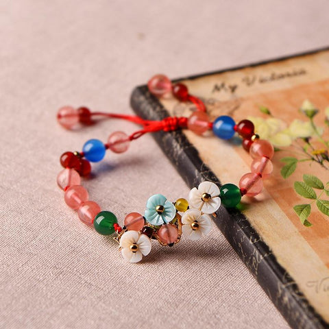Ethnic Crystal Flower Bracelet