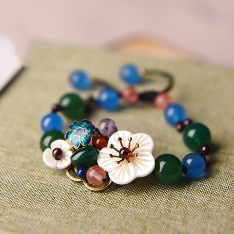 Trendy Crystal Shell Flower Charm Bracelets