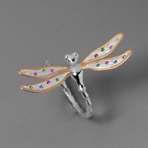 Polka Wing Dragonfly Ring