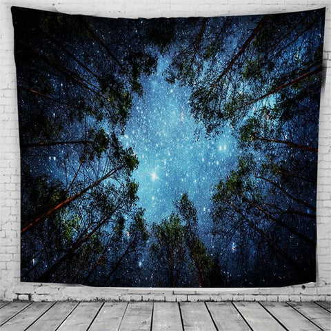 Tranquil Night Sky Forest Tapestry