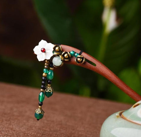 Vintage Flower Stone Hair Stick