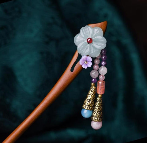 Ethnic Wooden Flower Stone Drop Hair Stick