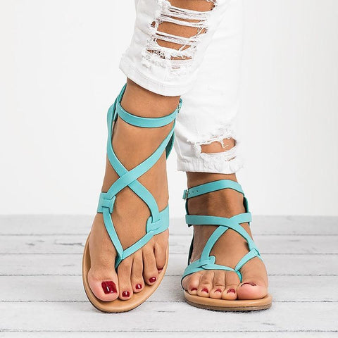 Soft Bottom Leather Strap Sandals