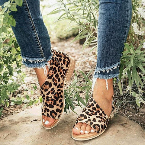 Leopard Peep Toe Sandals
