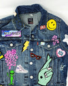 Kids Custom Denim Jacket with Individual Letter Patches Custom Text & Patches