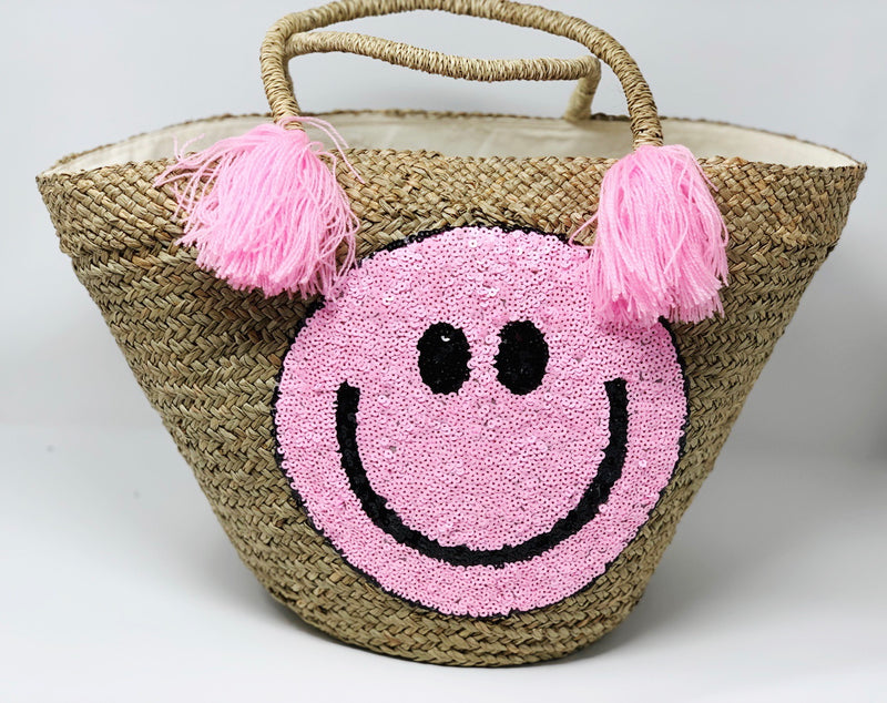 DENIM SUMMER SERIES: The Happiest Smiley Face Straw Patched Tote
