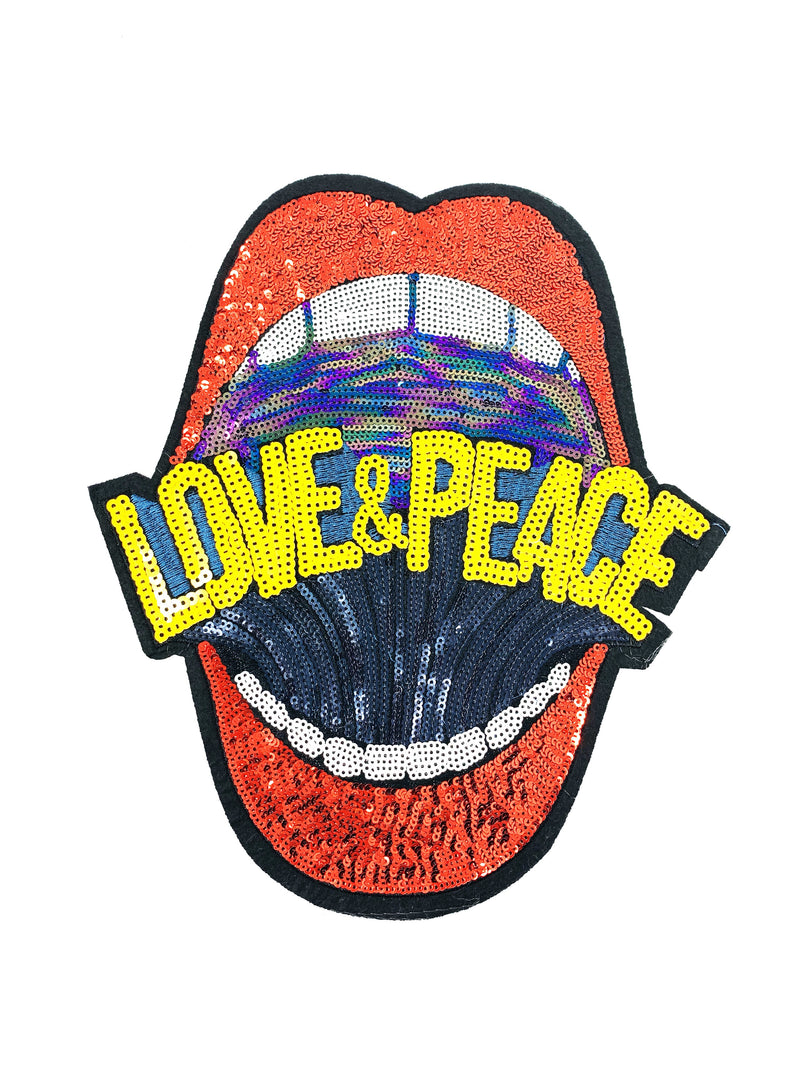 "PATCH BAR: XL ""Shout for Love & Peace"" Sequin Mouth Patch ( Red or Silver) BACK IN STOCK SOON!"