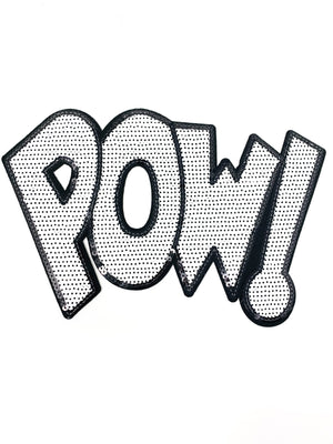 "PATCH BAR: Large ""White Sequin POW"" Patch"