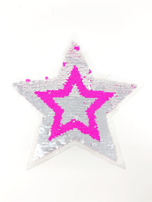 "PATCH BAR: Large ""Pink & Silver Flip Star"" Patch"