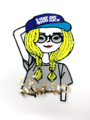 "PATCH BAR: XL ""Lucky Day Blonde Girl"" Patch"