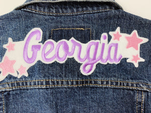 Kids Custom Name with Stars Jacket with Patches