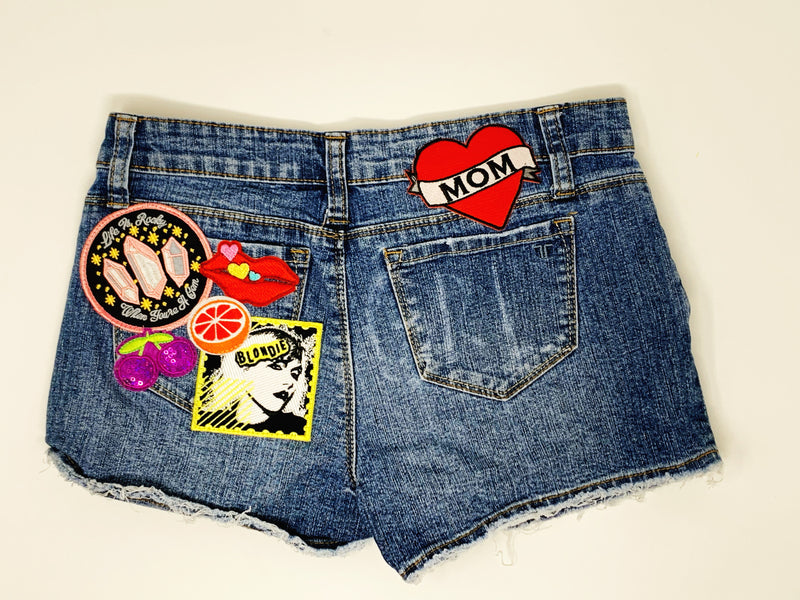 Girls DL 1961 Patched Blondie Denim Shorts Size 14 - READY TO SHIP