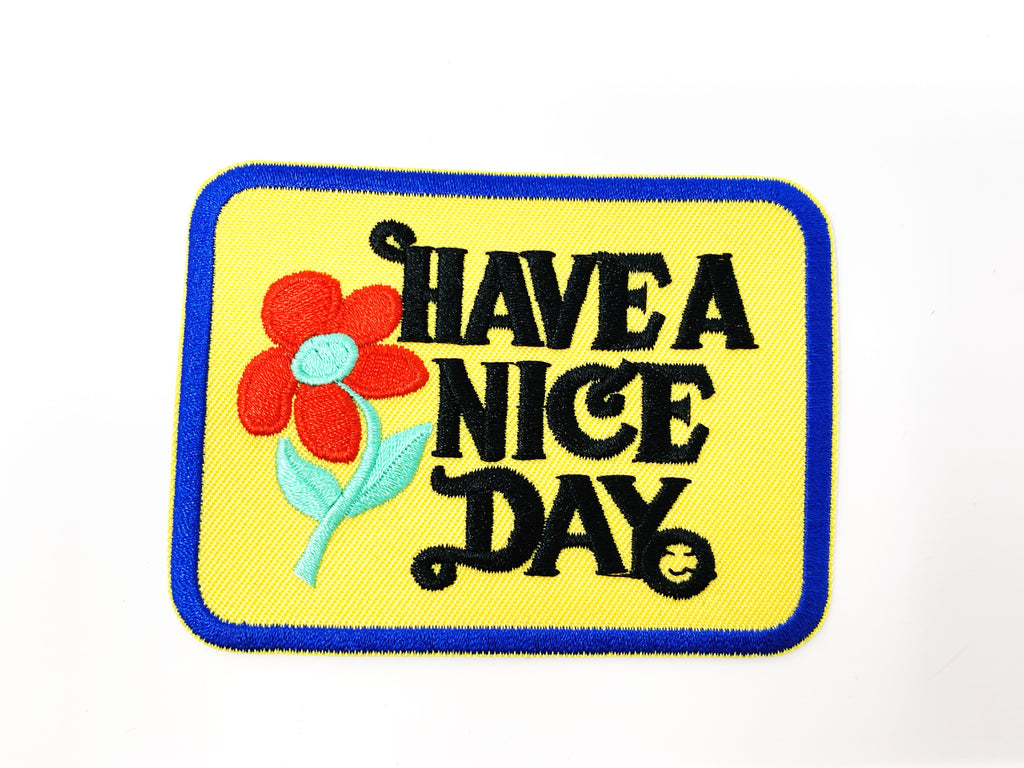 "PATCH BAR: Small ""Have A Nice Day"" Yellow Patch"